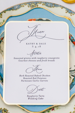 spring wedding menu place card